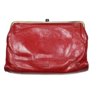 Hobo International Leanne Clutch Wallet Crossbody Bag Red Leather Folding *READ